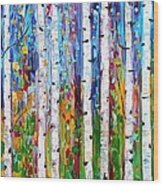 Autumn Birch Trees Abstract Wood Print