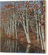 Autumn Blue Wood Print