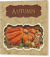 Autumn Button Wood Print by Mike Savad