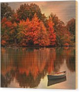 Autumn Canoe Wood Print by Robin-Lee Vieira