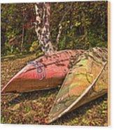 Autumn Canoes Wood Print