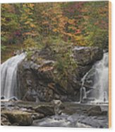 Autumn Cascades Wood Print
