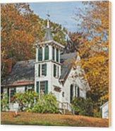 Autumn Church Wood Print