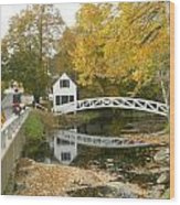 Autumn Colors At Somesville Bridge Mount Desert Island Maine Wood Print