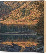 Autumn Colors Reflected In Stream Wood Print
