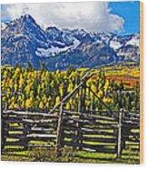 Autumn Corral Wood Print