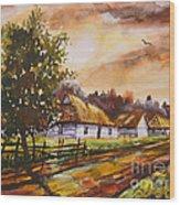 Autumn Cottages Wood Print
