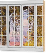 Autumn Cottonwood Tree Longs Peak White Window View Wood Print