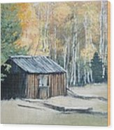 Autumn Descends On The Old Logger's Cabin Wood Print
