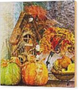 Autumn Display - Pumpkins On A Porch Wood Print