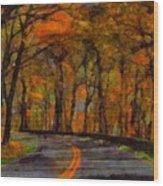 Autumn Drive Freedom And Beauty Wood Print