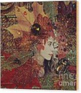 Autumn Dryad Collage Wood Print