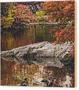 Autumn Duck Couple Wood Print