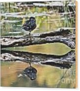 Autumn Duck Reflections Wood Print