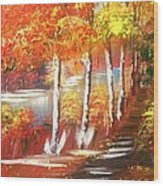 Autumn Falling Leaves  Wood Print