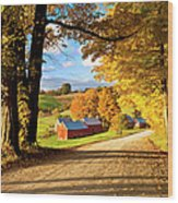 Autumn Farm In Vermont Wood Print