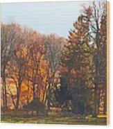 Autumn Farm With Harrow Wood Print