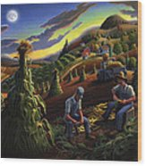 Autumn Farmers Shucking Corn Appalachian Rural Farm Country Harvesting Landscape - Harvest Folk Art Wood Print