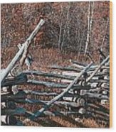 Autumn Fence Wood Print
