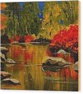 Autumn Flames Wood Print