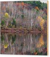 Autumn Foliage River Reflection Wood Print