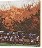 Autumn Football With Cutout Effect Wood Print