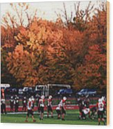 Autumn Football With Dry Brush Effect Wood Print