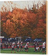 Autumn Football With Sponge Painting Effect Wood Print