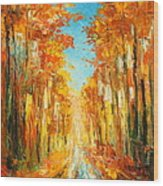 Autumn Forest Impression Wood Print