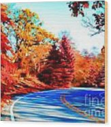 Autumn Forest Road V7 Wood Print