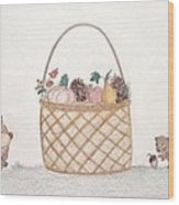 Autumn Fruit Basket And Bears Wood Print by Christine Corretti