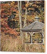 Autumn Gazebo Wood Print