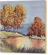Autumn Golds Wood Print