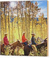 Autumn Horseback Riding Wood Print