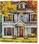 Autumn - House - Cottage  Wood Print by Mike Savad