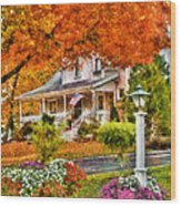 Autumn - House - The Beauty Of Autumn Wood Print by Mike Savad