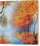 Autumn In The Morning Mist Wood Print