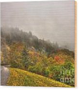 Autumn Just Around The Bend Blue Ridge Parkway In Nc Wood Print