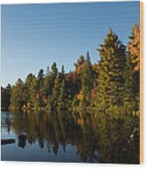Autumn Lake In The Forest - Reflection Tranquility Wood Print