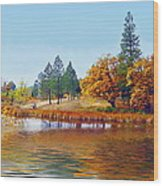 Autumn Lake In The Woods Wood Print