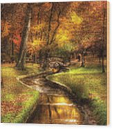 Autumn - Landscape - By A Little Bridge  Wood Print by Mike Savad