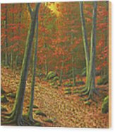 Autumn Leaf Litter Wood Print