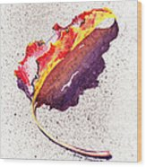 Autumn Leaf On Fire Wood Print