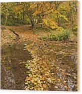 Autumn Leaves In Burn Vertical Wood Print