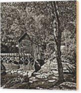 Autumn Mill 2 Sepia Wood Print