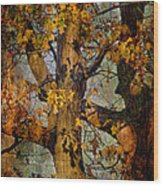 Autumn Oaks In Dance Mode Wood Print