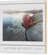 Autumn On Misty Lake Poster Wood Print