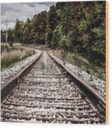 Autumn On The Railroad Tracks Wood Print