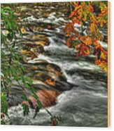 Autumn On The River Wood Print