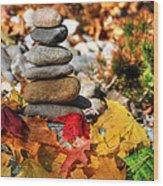 Autumn On The Rocks Wood Print